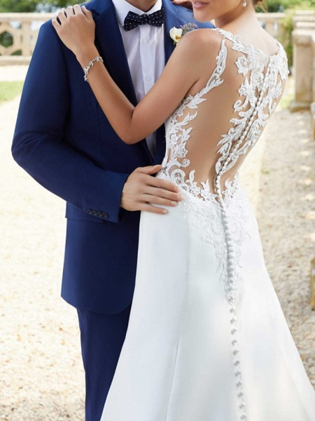 A-Line Wedding Dresses Jewel Neck Court Train Lace Satin Sleeveless Simple Sexy_2