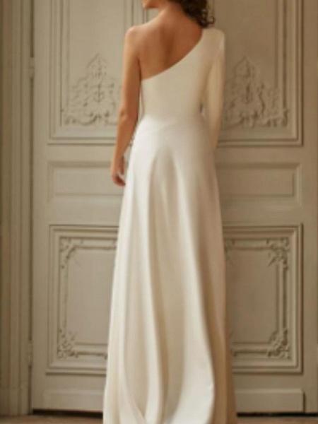 A-Line Wedding Dresses One Shoulder Sweep \ Brush Train Stretch Satin Long Sleeve Simple Modern_2