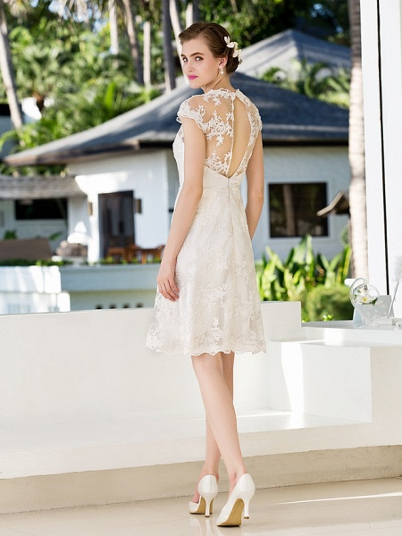 A-Line Sheath \ Column Wedding Dresses Jewel Neck Knee Length Floral Lace Cap Sleeve Vintage Little White Dress Illusion Detail Backless_4