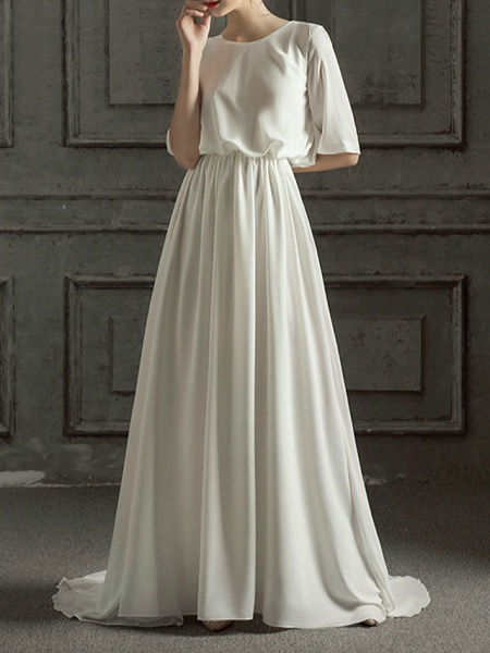 A-Line Wedding Dresses Jewel Neck Sweep \ Brush Train Chiffon Satin Half Sleeve Simple Elegant_8