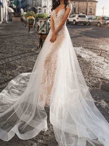 A-Line V Neck Sweep \ Brush Train Tulle Short Sleeve Country Plus Size Wedding Dresses_1