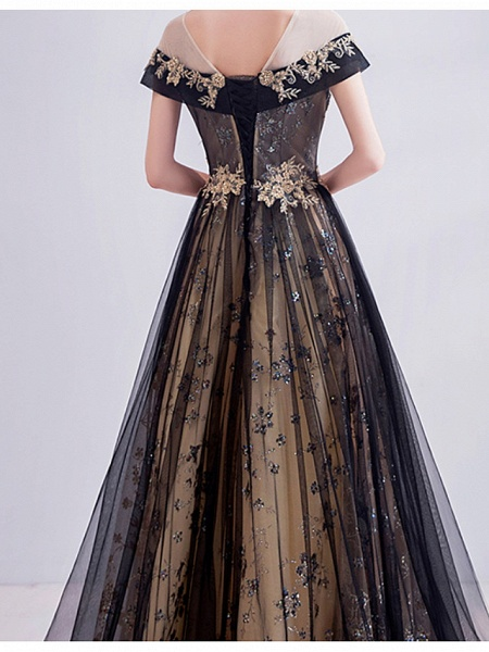 A-Line Wedding Dresses Jewel Neck Sweep \ Brush Train Lace Tulle Short Sleeve Formal Black_4