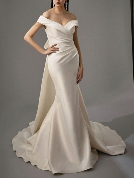 Lt8036994 White Boho Mermaid Off The Should Wedding Dress_3