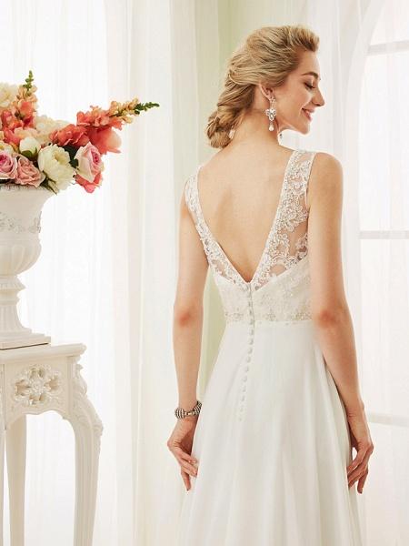 A-Line Wedding Dresses V Neck Court Train Chiffon Lace Bodice Regular Straps Sexy Illusion Detail Backless_7