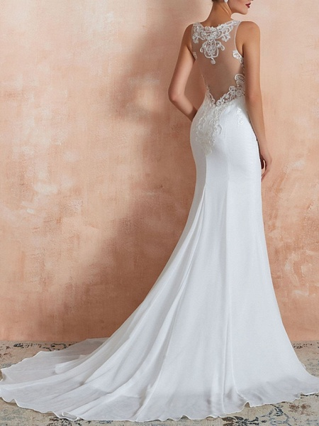 Mermaid \ Trumpet Wedding Dresses Jewel Neck Sweep \ Brush Train Lace Tulle Sleeveless Sexy Illusion Detail_2