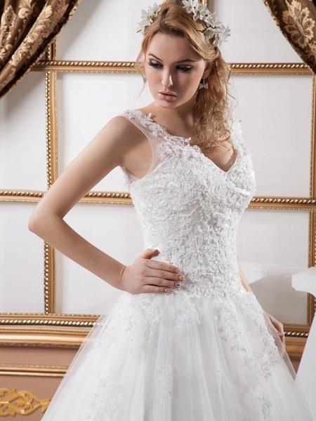 A-Line V Neck Court Train Lace Satin Tulle Spaghetti Strap Wedding Dresses_5