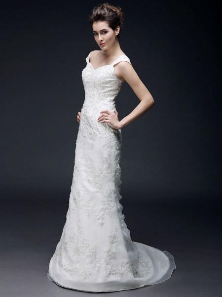 Mermaid \ Trumpet Off Shoulder Sweetheart Neckline Sweep \ Brush Train Organza Satin Short Sleeve Wedding Dresses_3