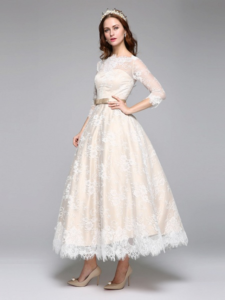 A-Line Wedding Dresses Bateau Neck Ankle Length Lace Over Satin 3\4 Length Sleeve Casual Boho See-Through Cute Illusion Sleeve_6