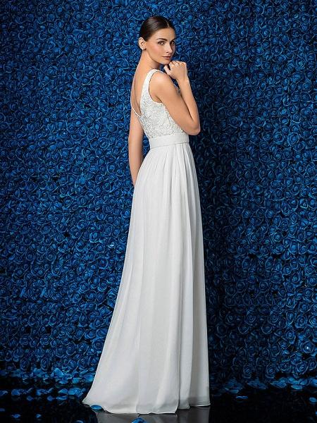 Sheath \ Column Elegant Prom Formal Evening Dress Illusion Neck Sleeveless Floor Length Chiffon Lace_6