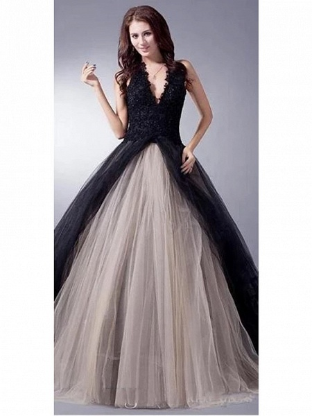 Ball Gown Wedding Dresses V Neck Sweep \ Brush Train Lace Tulle Regular Straps Sexy Plus Size Black Modern_1