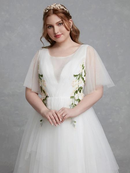 A-Line Wedding Dresses Jewel Neck Sweep \ Brush Train Tulle Short Sleeve Casual Boho Plus Size_6