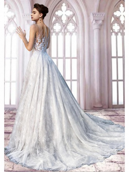 A-Line Jewel Neck Sweep \ Brush Train Lace Tulle Sleeveless Formal Sexy See-Through Wedding Dresses_2