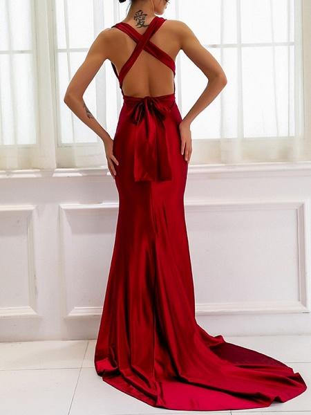 Sheath \ Column Wedding Dresses V Neck Sweep \ Brush Train Satin Regular Straps Romantic Plus Size Red_4