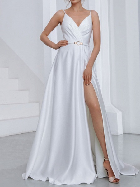 A-Line Wedding Dresses V Neck Spaghetti Strap Sweep \ Brush Train Chiffon Over Satin Sleeveless Country Sexy Plus Size_1
