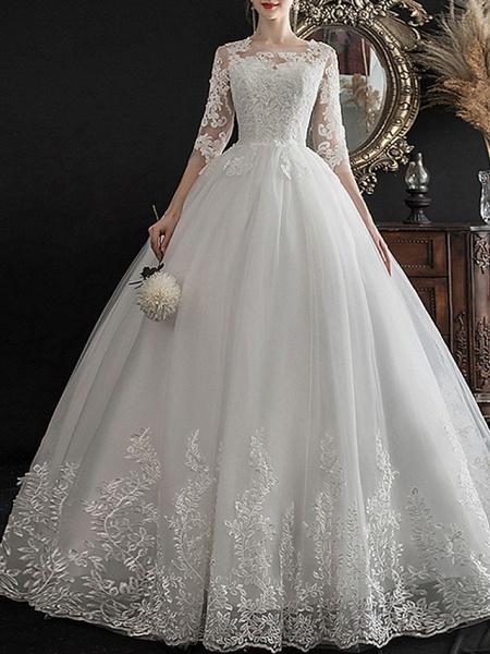 A-Line Wedding Dresses Jewel Neck Sweep \ Brush Train Lace Half Sleeve Glamorous See-Through Illusion Sleeve_1