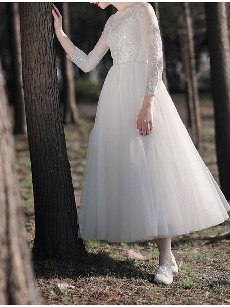A-Line Wedding Dresses Jewel Neck Ankle Length Lace Tulle Long Sleeve Simple Little White Dress Elegant Illusion Sleeve_5