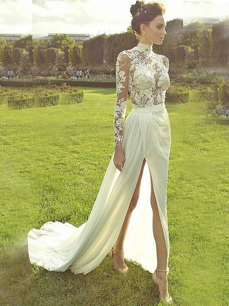 A-Line Wedding Dresses High Neck Court Train Lace Polyester Long Sleeve Country Illusion Sleeve_1