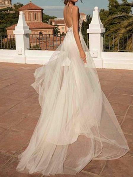 A-Line Wedding Dresses V Neck Sweep \ Brush Train Chiffon Spaghetti Strap Boho Illusion Detail_2