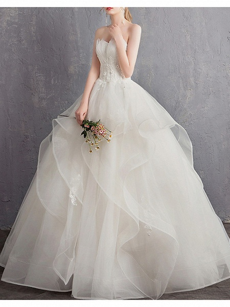 A-Line Wedding Dresses Strapless Floor Length Tulle Regular Straps_2
