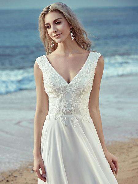 A-Line Wedding Dresses V Neck Sweep \ Brush Train Chiffon Lace Regular Straps Cutouts_7