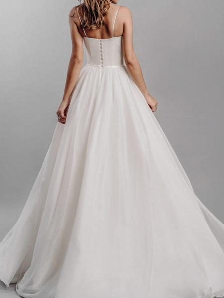 A-Line Wedding Dresses Spaghetti Strap Sweep \ Brush Train Silk Chiffon Over Satin Sleeveless Simple Beach_5