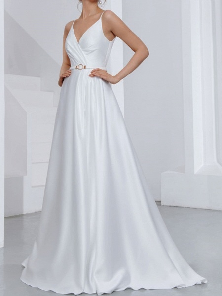 A-Line Wedding Dresses V Neck Spaghetti Strap Sweep \ Brush Train Chiffon Over Satin Sleeveless Country Sexy Plus Size_2