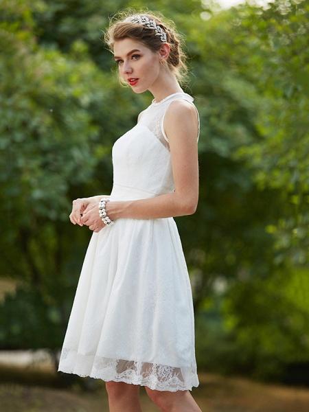A-Line Wedding Dresses Jewel Neck Knee Length Lace Sleeveless Little White Dress_7