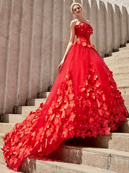 Ball Gown Wedding Dresses Strapless Court Train Tulle Strapless Country Glamorous Plus Size_24
