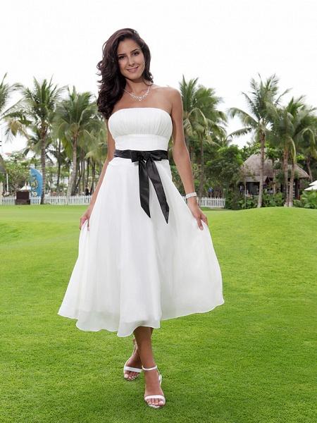 A-Line Wedding Dresses Strapless Tea Length Chiffon Strapless Formal Casual Little White Dress_2