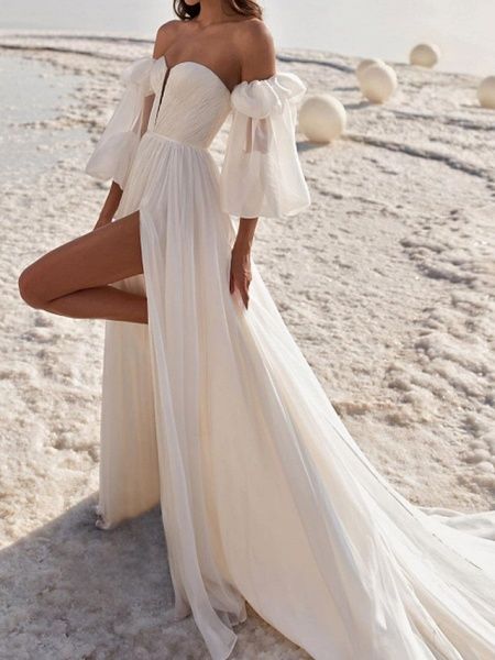 A-Line Wedding Dresses Off Shoulder Strapless Court Train Chiffon Over Satin 3\4 Length Sleeve Sexy_1