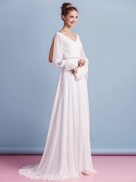 Sheath \ Column Wedding Dresses V Neck Court Train Chiffon Long Sleeve_3