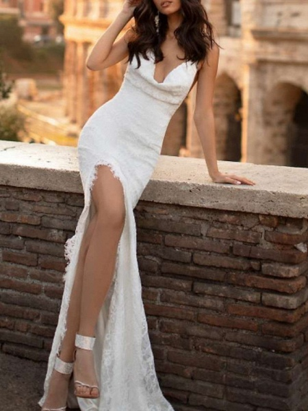 Mermaid \ Trumpet Wedding Dresses Spaghetti Strap Sweep \ Brush Train Lace Satin Sleeveless Simple Sexy Backless_1