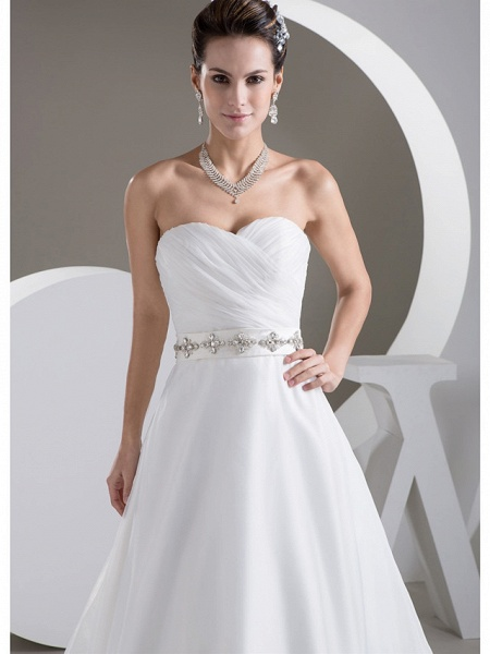 A-Line Sweetheart Neckline Court Train Lace Satin Tulle Strapless Wedding Dresses_4