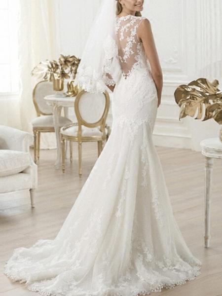 Mermaid \ Trumpet Wedding Dresses V Neck Sweep \ Brush Train Lace Sleeveless Beach_2