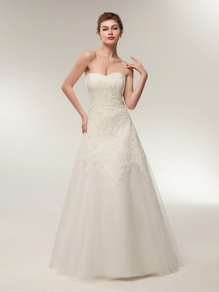 A-Line Wedding Dresses Strapless Floor Length Lace Tulle Strapless Formal Illusion Detail_2