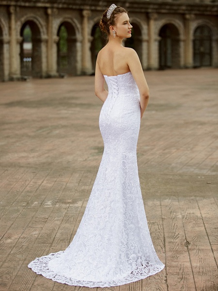 Mermaid \ Trumpet Wedding Dresses Sweetheart Neckline Sweep \ Brush Train Lace Strapless Country Plus Size_2