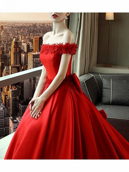 A-Line Wedding Dresses Off Shoulder Court Train Satin Short Sleeve Romantic Plus Size Red_2