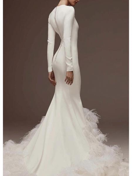 Mermaid \ Trumpet Jewel Neck Sweep \ Brush Train Satin Long Sleeve Plus Size Wedding Dresses_2