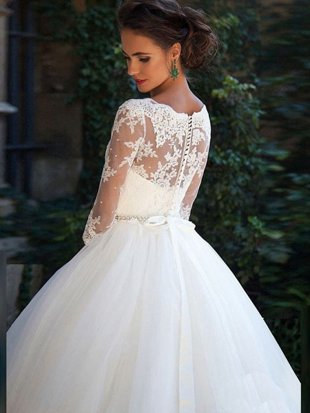 A-Line Wedding Dresses Off Shoulder Court Train Lace Tulle 3\4 Length Sleeve Formal Sexy Illusion Sleeve_4