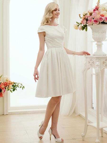 A-Line Wedding Dresses Jewel Neck Knee Length Satin Short Sleeve Formal Simple Casual Little White Dress_3