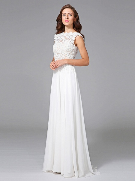 Sheath \ Column Wedding Dresses Bateau Neck Sweep \ Brush Train Chiffon Floral Lace Cap Sleeve Romantic Illusion Detail Backless_6