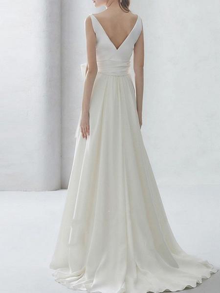 A-Line Wedding Dresses Bateau Neck Sweep \ Brush Train Chiffon Regular Straps Simple Elegant_2