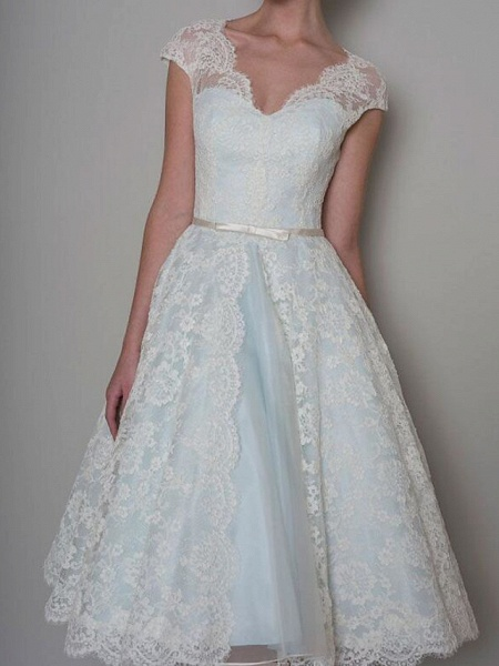 A-Line Wedding Dresses Sweetheart Neckline Knee Length Lace Satin Sleeveless Vintage 1950s Cape_1