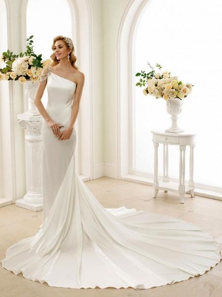 Mermaid \ Trumpet Wedding Dresses One Shoulder Sweep \ Brush Train Stretch Satin Regular Straps Simple Sexy Modern Elegant_1