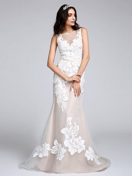 Mermaid \ Trumpet Wedding Dresses Bateau Neck Sweep \ Brush Train Tulle Floral Lace Regular Straps Romantic Boho Sexy See-Through Illusion Detail_2
