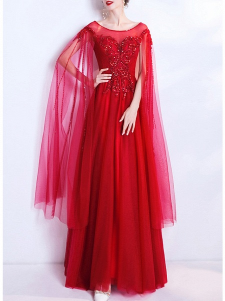 A-Line Wedding Dresses Jewel Neck Floor Length Organza Cap Sleeve Romantic Plus Size Red_3