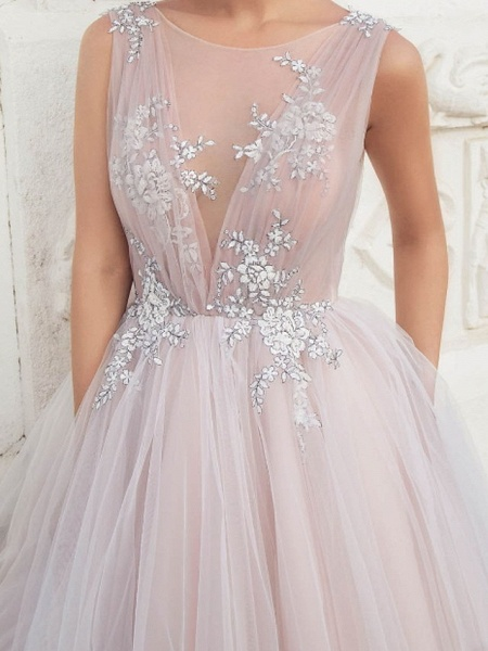 A-Line Wedding Dresses Jewel Neck Sweep \ Brush Train Tulle Polyester Sleeveless Country Plus Size_4