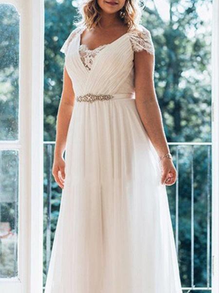 A-Line Wedding Dresses V Neck Sweep \ Brush Train Chiffon Lace Short Sleeve Simple Plus Size_3