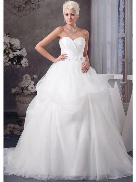 A-Line Sweetheart Neckline Court Train Organza Satin Strapless Wedding Dresses_1