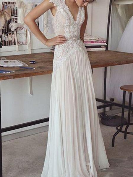 Sheath \ Column Wedding Dresses V Neck Sweep \ Brush Train Chiffon Lace Sleeveless Beach_1